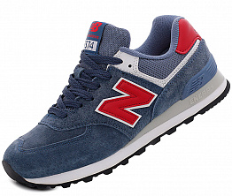 Кроссовки NBseries 574 Suede Dark Blue / Red