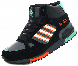 Кроссовки Adidas ZX 750 Tall Black / Turquoise / Orange